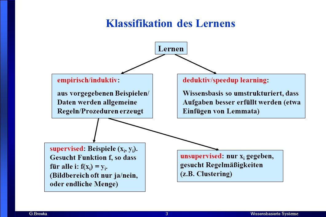 G. BrewkaWissensbasierte Systeme 3 Klassifikation des Lernens Lernen empirisch/induktiv: aus vorgegebenen Beispielen/ Daten werden allgemeine Regeln/P