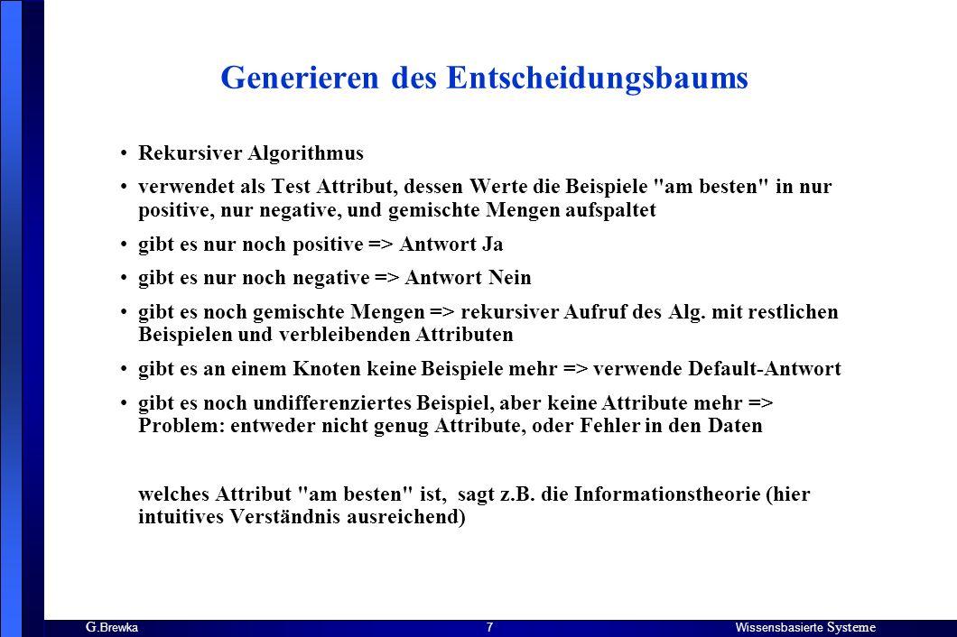 G. BrewkaWissensbasierte Systeme 7 Generieren des Entscheidungsbaums Rekursiver Algorithmus verwendet als Test Attribut, dessen Werte die Beispiele
