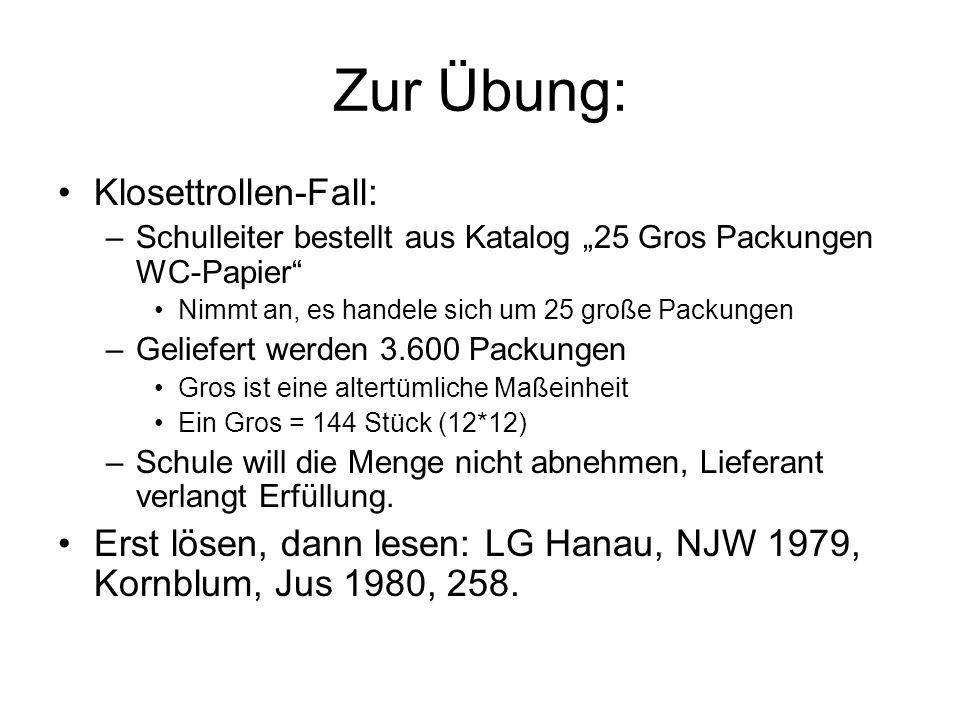Zur Übung: Klosettrollen-Fall: –Schulleiter bestellt aus Katalog 25 Gros Packungen WC-Papier Nimmt an, es handele sich um 25 große Packungen –Geliefer