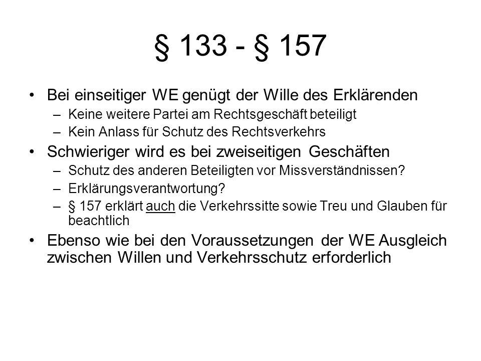 § 133 - § 157 Bei einseitiger WE genügt der Wille des Erklärenden –Keine weitere Partei am Rechtsgeschäft beteiligt –Kein Anlass für Schutz des Rechts