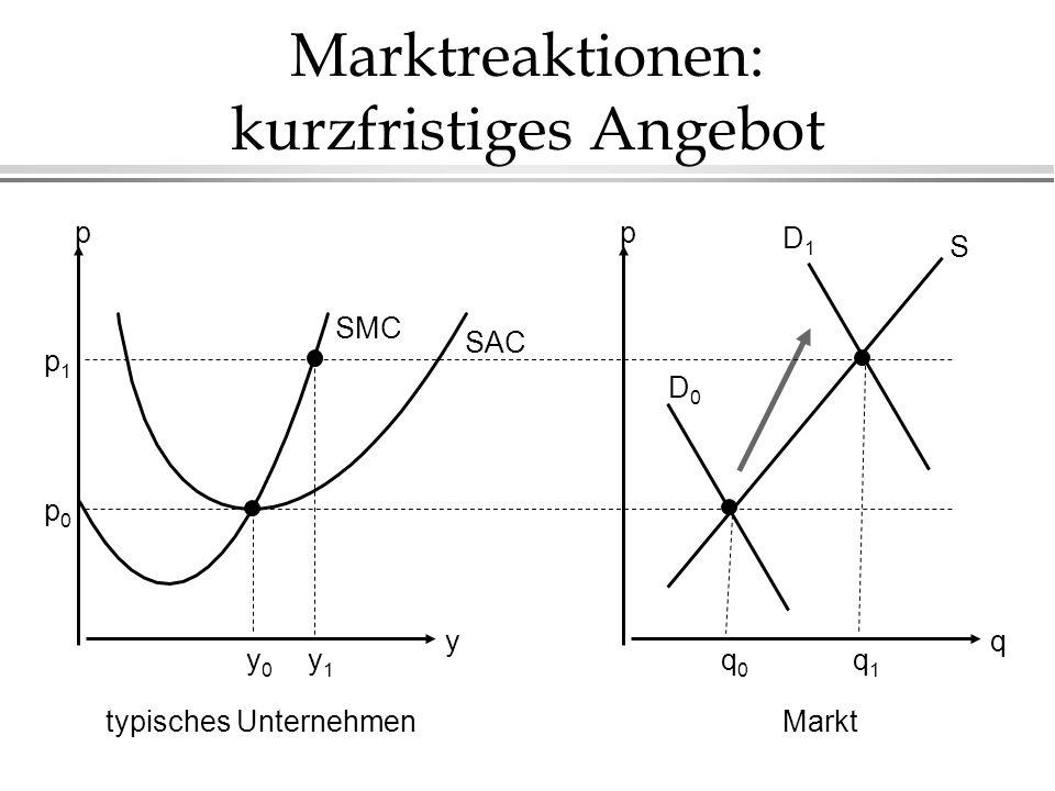 Marktreaktionen: kurzfristiges Angebot q p y p typisches UnternehmenMarkt SAC SMC p1p1 p0p0 D1D1 D0D0 S y0y0 y1y1 q0q0 q1q1