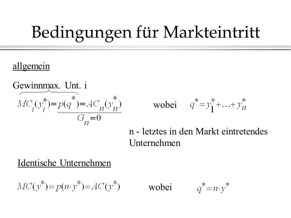Bedingungen für Markteintritt allgemein Gewinnmax.