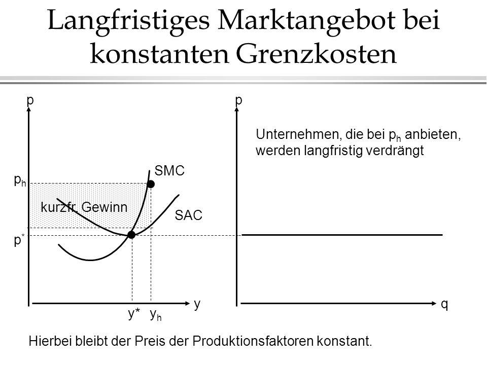 Langfristiges Marktangebot bei konstanten Grenzkosten Hierbei bleibt der Preis der Produktionsfaktoren konstant.