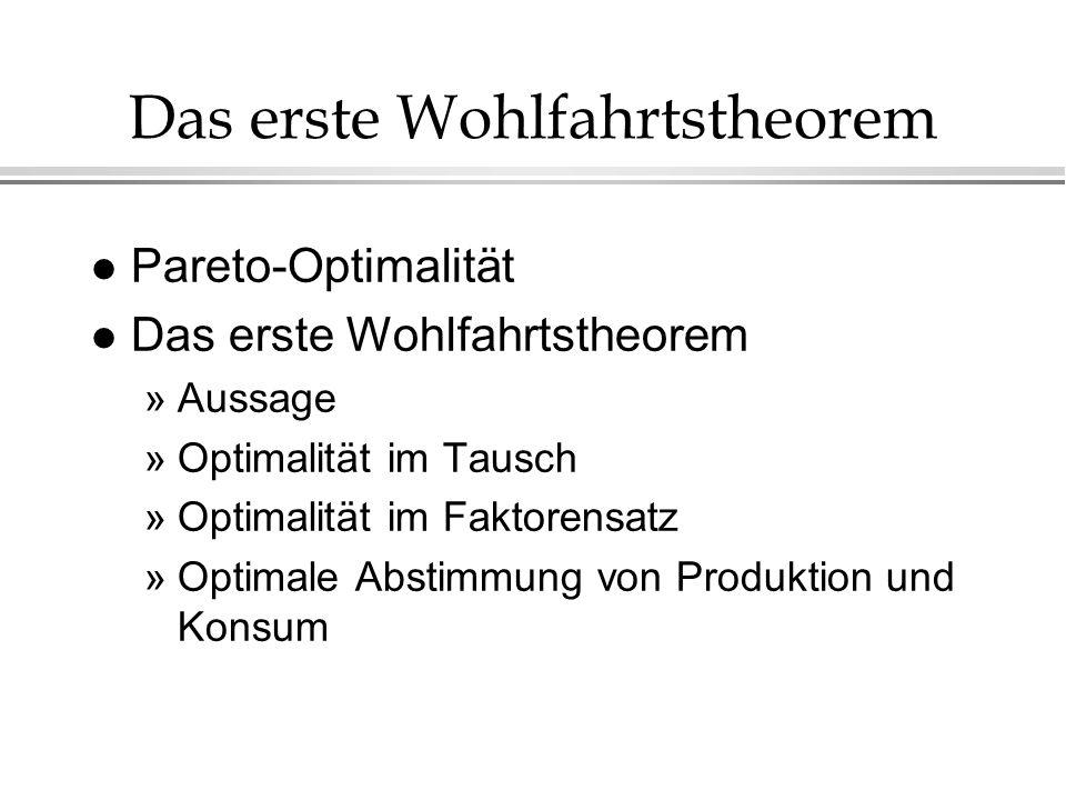 Das erste Wohlfahrtstheorem l Pareto-Optimalität l Das erste Wohlfahrtstheorem »Aussage »Optimalität im Tausch »Optimalität im Faktorensatz »Optimale Abstimmung von Produktion und Konsum