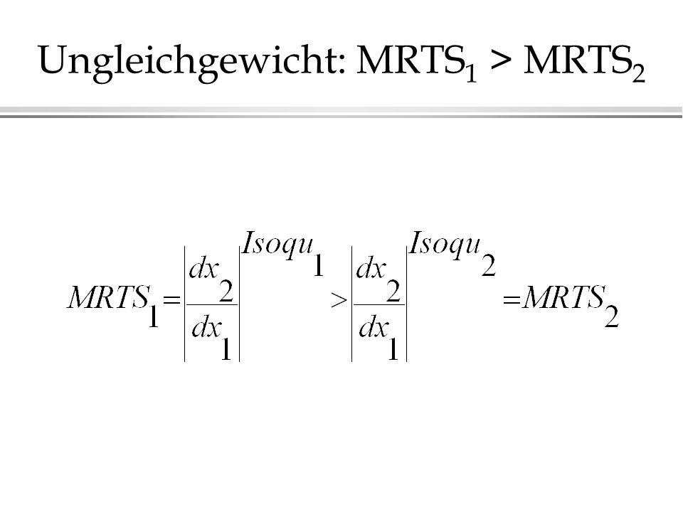 Ungleichgewicht: MRTS 1 > MRTS 2