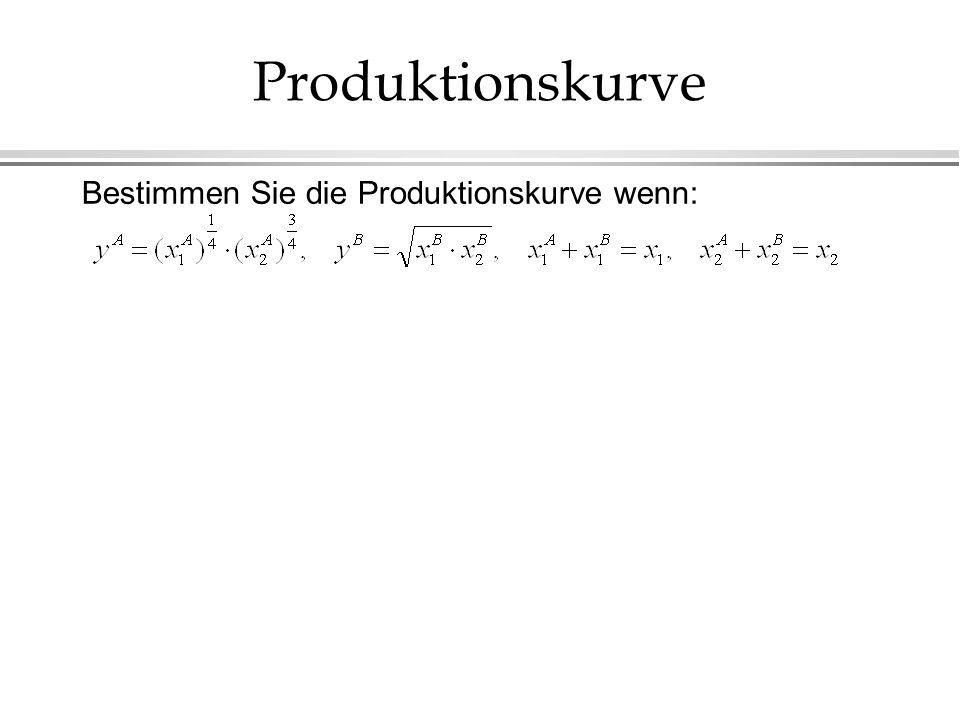 Produktionskurve Bestimmen Sie die Produktionskurve wenn: