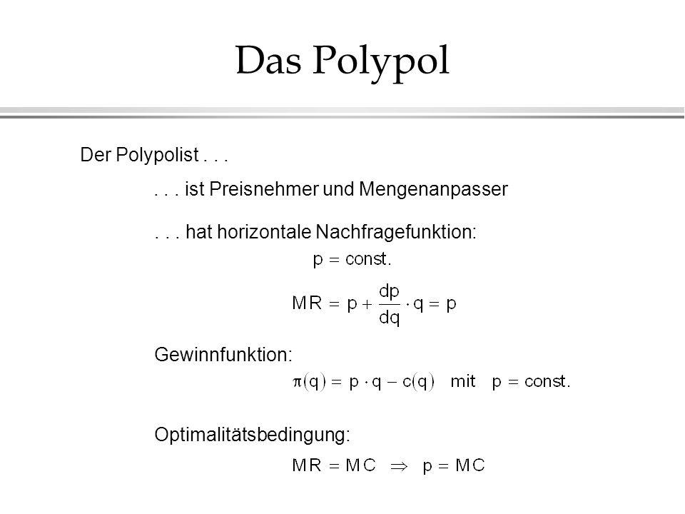 Das Polypol Der Polypolist......ist Preisnehmer und Mengenanpasser...