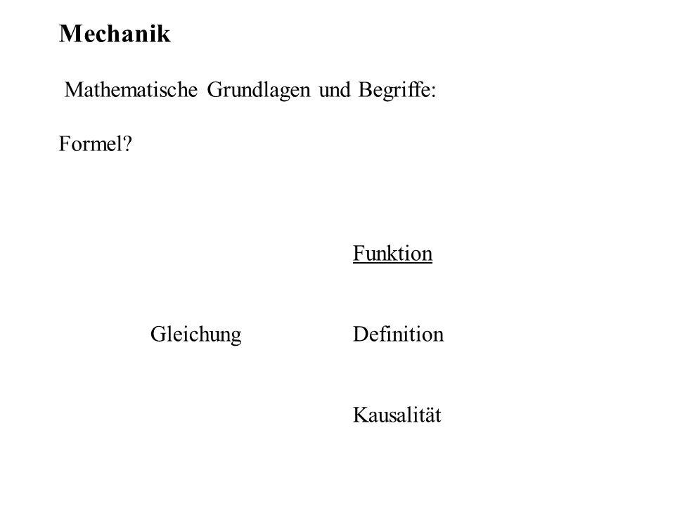 Mechanik Mathematische Grundlagen und Begriffe: Formel? Funktion Gleichung Definition Kausalität