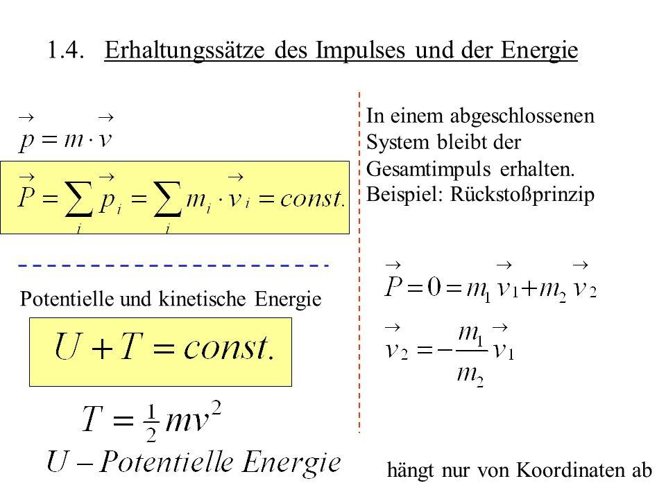 1.4. Erhaltungssätze des Impulses und der Energie In einem abgeschlossenen System bleibt der Gesamtimpuls erhalten. Beispiel: Rückstoßprinzip Potentie