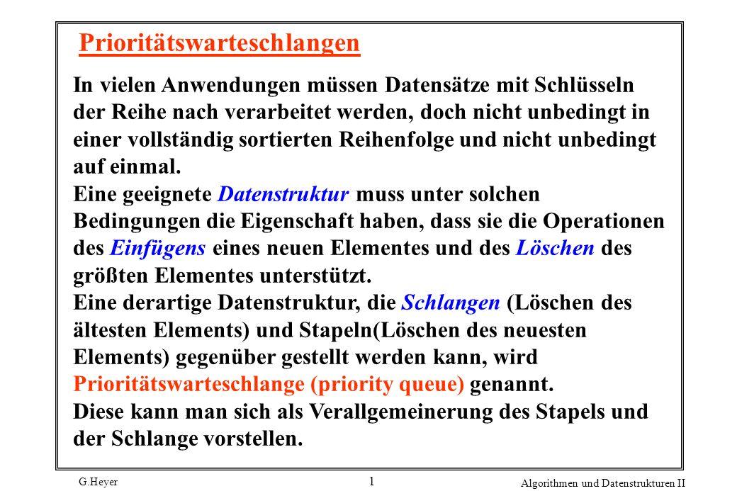 G.Heyer Algorithmen und Datenstrukturen II 22 Eigenschaften des Heap: Alle grundlegenden Operationen insert, remove, replace, (downheap und upheap), delete und change erfordern weniger als 2 lg N Vergleiche, wenn sie für einen Heap mit N Elementen ausgeführt werden.