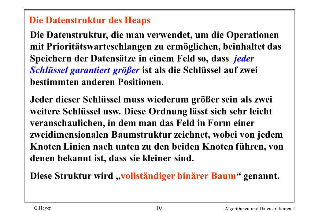 G.Heyer Algorithmen und Datenstrukturen II 10 Die Datenstruktur des Heaps Die Datenstruktur, die man verwendet, um die Operationen mit Prioritätswarte