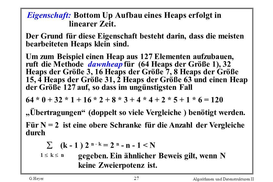 G.Heyer Algorithmen und Datenstrukturen II 27 Eigenschaft: Bottom Up Aufbau eines Heaps erfolgt in linearer Zeit. Der Grund für diese Eigenschaft best