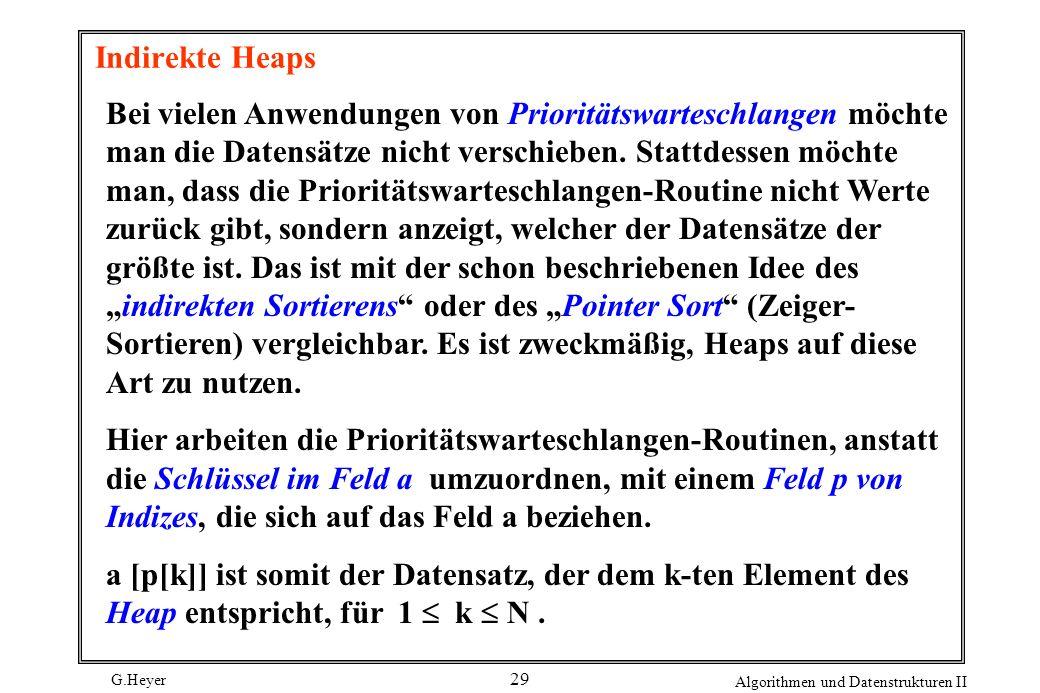 G.Heyer Algorithmen und Datenstrukturen II 29 Indirekte Heaps Bei vielen Anwendungen von Prioritätswarteschlangen möchte man die Datensätze nicht vers