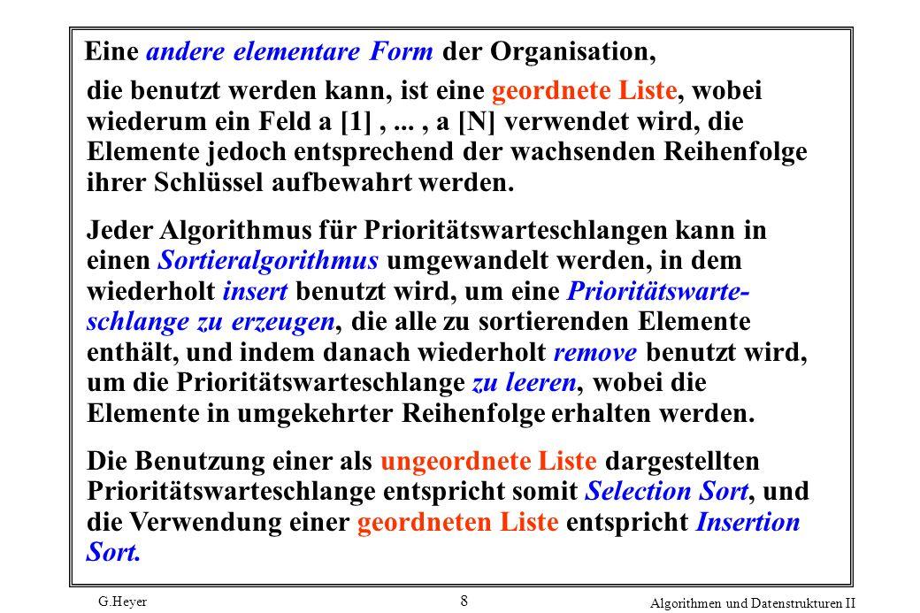 G.Heyer Algorithmen und Datenstrukturen II 19 Die replace-Operation erfordert das Ersetzen des Schlüssels bei der Wurzel durch einen neuen Schlüssel und danach die Bewegung im Heap von oben nach unten, um die Heap- Bedingung wieder herzustellen.