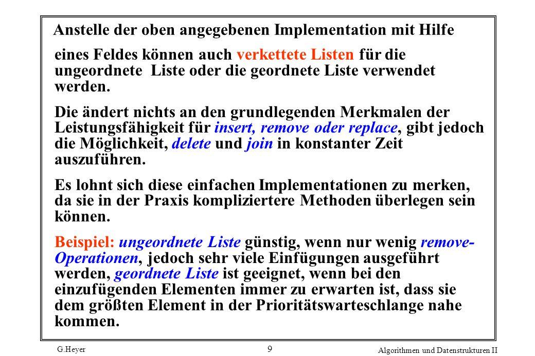 G.Heyer Algorithmen und Datenstrukturen II 30 Indirekte Heap-Datenstrukturen q[k] 10 5 6 4 2 13 7 8 9 1 11 12 3 14 15 1 2 3 4 5 6 7 8 9 10 11 12 13 14 15 k a [k] XRPTGNOSMAAE AROSGNITMAXELEP 1 2 3 4 5 6 7 8 9 10 11 12 13 14 15 ILE p[k] a [p[k]] Die Implementationen werden entsprechend modifiziert.