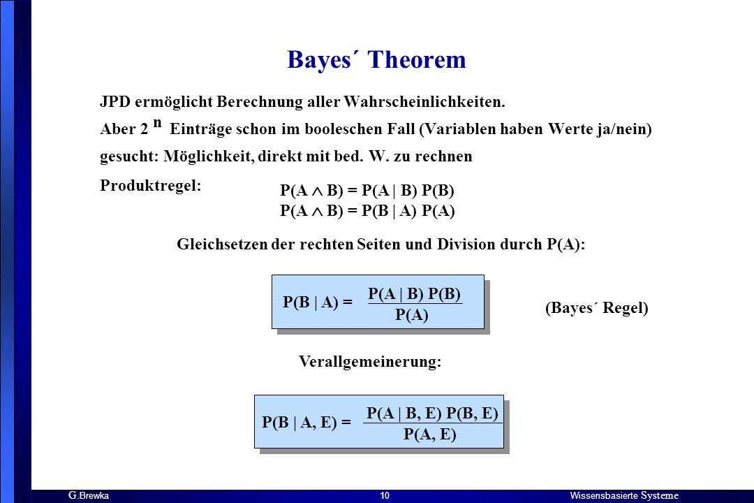 G. BrewkaWissensbasierte Systeme 10 Bayes´ Theorem JPD ermöglicht Berechnung aller Wahrscheinlichkeiten. Aber 2 Einträge schon im booleschen Fall (Var