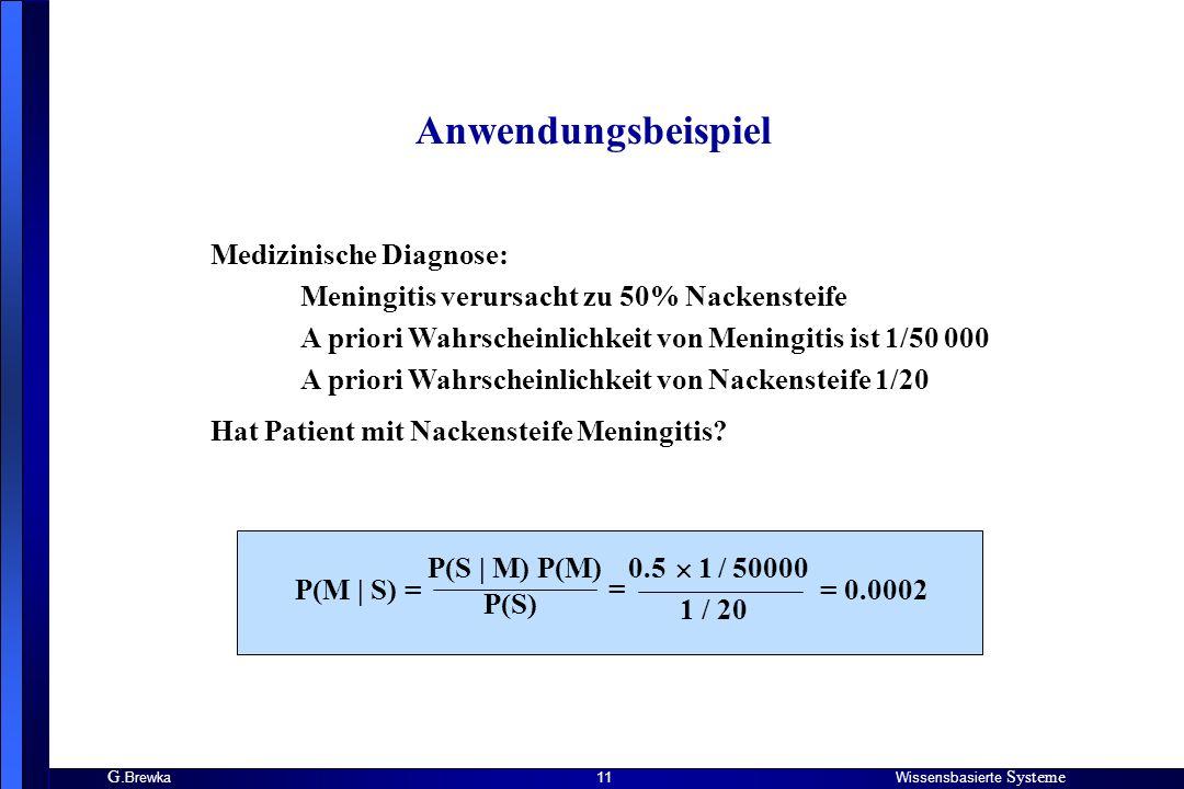 G. BrewkaWissensbasierte Systeme 11 Anwendungsbeispiel Medizinische Diagnose: Meningitis verursacht zu 50% Nackensteife A priori Wahrscheinlichkeit vo