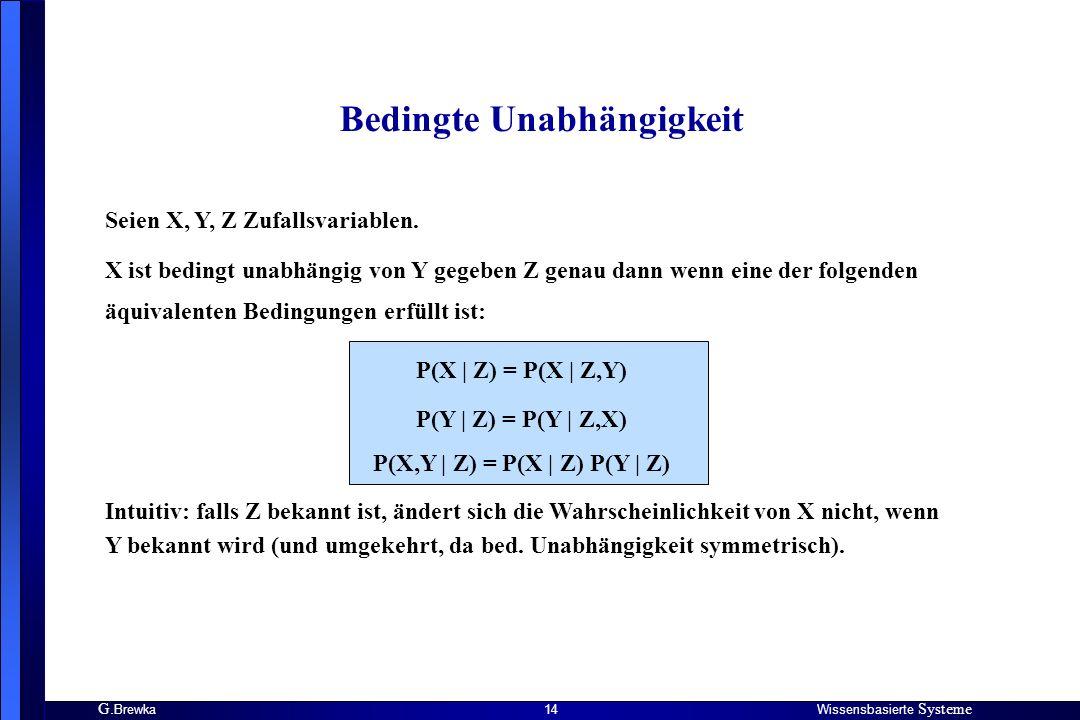 G. BrewkaWissensbasierte Systeme 14 Seien X, Y, Z Zufallsvariablen. X ist bedingt unabhängig von Y gegeben Z genau dann wenn eine der folgenden äquiva