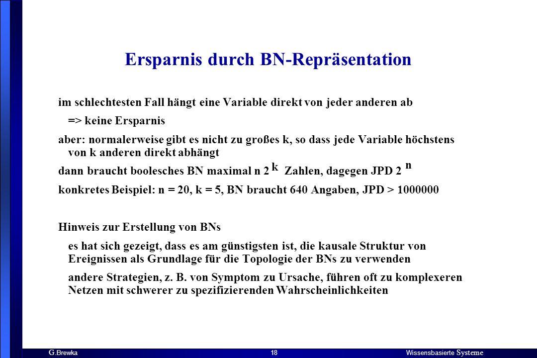 G. BrewkaWissensbasierte Systeme 18 Ersparnis durch BN-Repräsentation im schlechtesten Fall hängt eine Variable direkt von jeder anderen ab => keine E