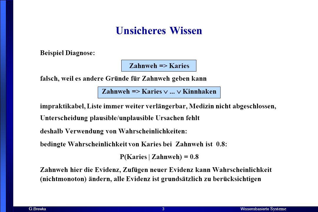 G. BrewkaWissensbasierte Systeme 3 Unsicheres Wissen Beispiel Diagnose: Zahnweh => Karies falsch, weil es andere Gründe für Zahnweh geben kann Zahnweh