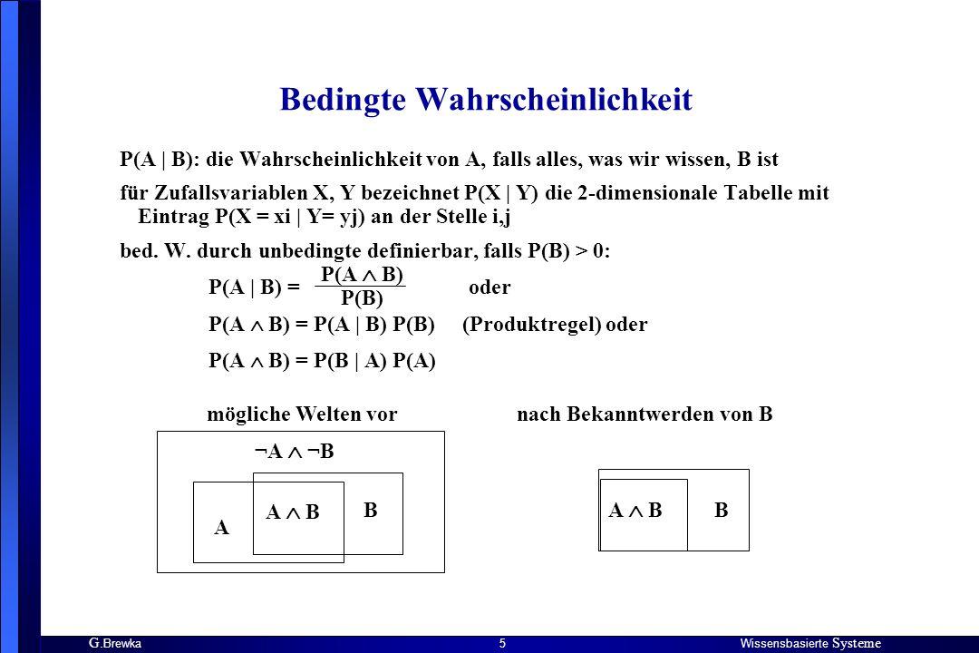 G. BrewkaWissensbasierte Systeme 5 Bedingte Wahrscheinlichkeit P(A | B): die Wahrscheinlichkeit von A, falls alles, was wir wissen, B ist für Zufallsv