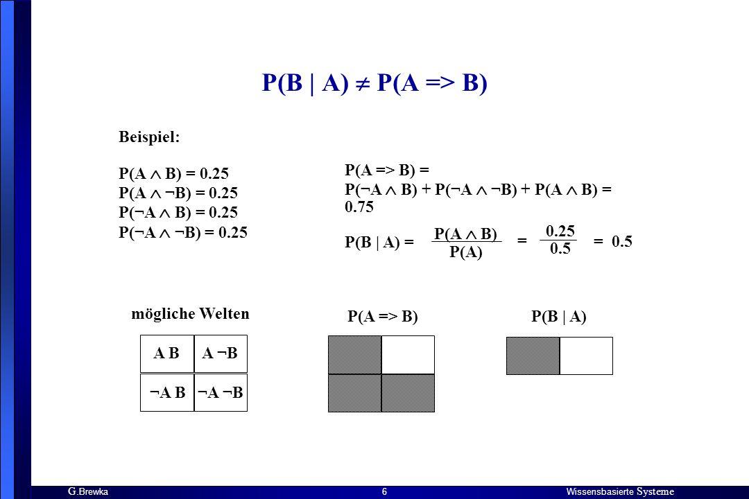 G. BrewkaWissensbasierte Systeme 6 P(B | A) P(A => B) Beispiel: P(A B) = 0.25 P(A ¬B) = 0.25 P(¬A B) = 0.25 P(¬A ¬B) = 0.25 P(A => B) = P(¬A B) + P(¬A