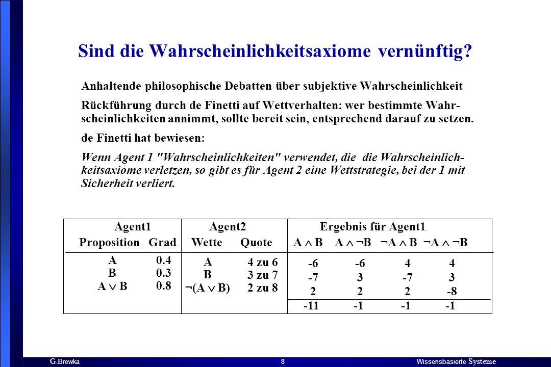 G. BrewkaWissensbasierte Systeme 8 Sind die Wahrscheinlichkeitsaxiome vernünftig? Anhaltende philosophische Debatten über subjektive Wahrscheinlichkei