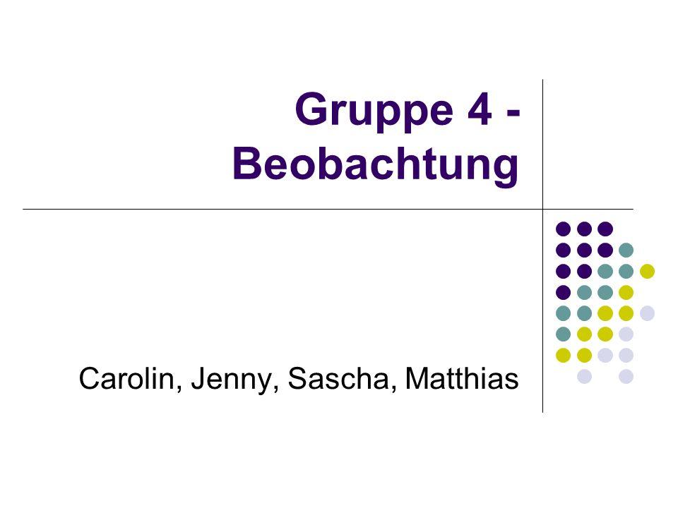 Gruppe 4 - Beobachtung Carolin, Jenny, Sascha, Matthias