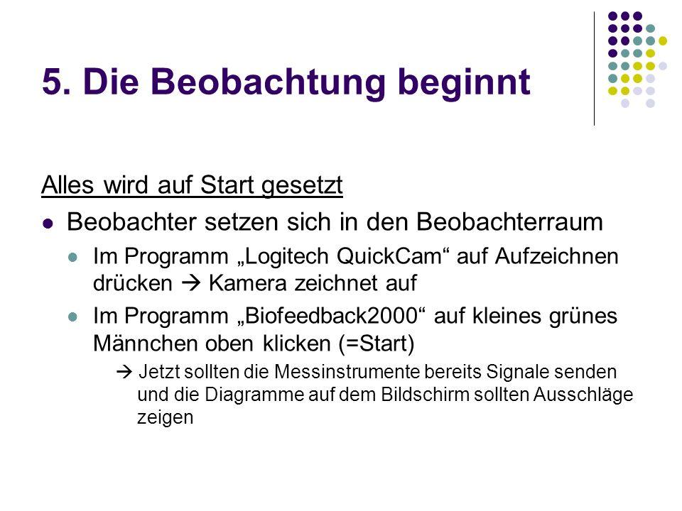 5. Die Beobachtung beginnt Alles wird auf Start gesetzt Beobachter setzen sich in den Beobachterraum Im Programm Logitech QuickCam auf Aufzeichnen drü