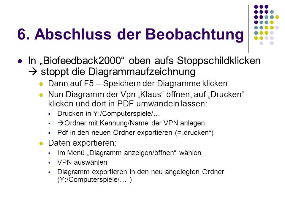 6. Abschluss der Beobachtung In Biofeedback2000 oben aufs Stoppschildklicken stoppt die Diagrammaufzeichnung Dann auf F5 – Speichern der Diagramme kli