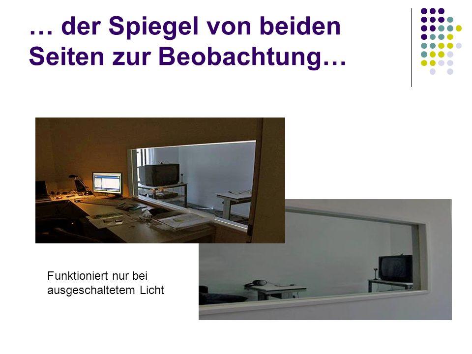 … der Spiegel von beiden Seiten zur Beobachtung… Funktioniert nur bei ausgeschaltetem Licht