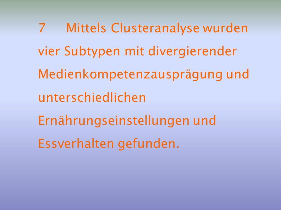 7Mittels Clusteranalyse wurden vier Subtypen mit divergierender Medienkompetenzausprägung und unterschiedlichen Ernährungseinstellungen und Essverhalt