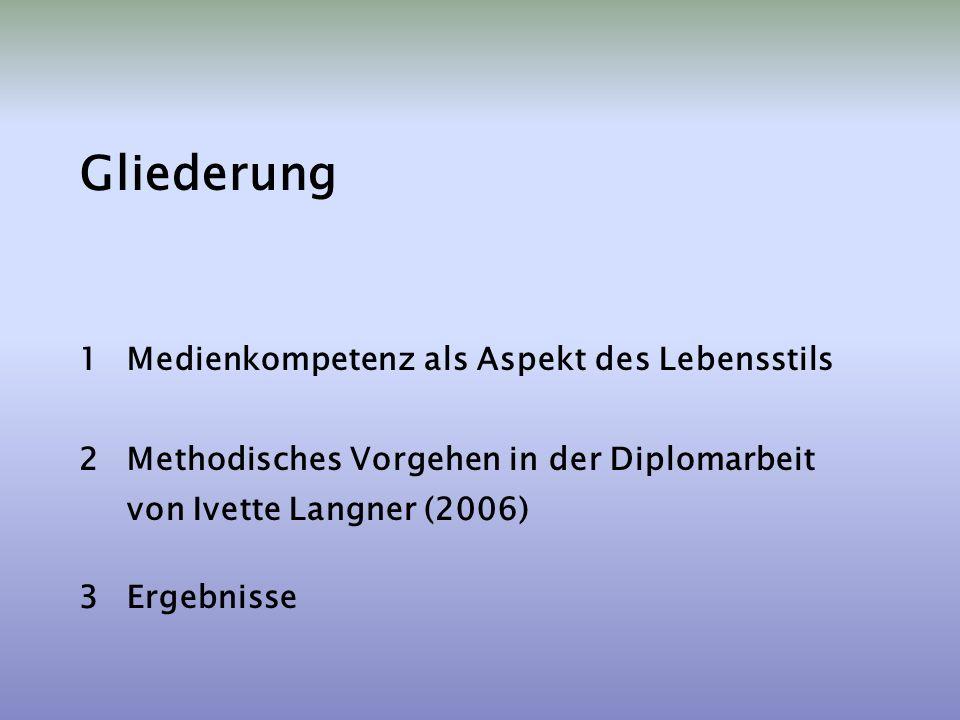 Gliederung 1Medienkompetenz als Aspekt des Lebensstils 2Methodisches Vorgehen in der Diplomarbeit von Ivette Langner (2006) 3Ergebnisse