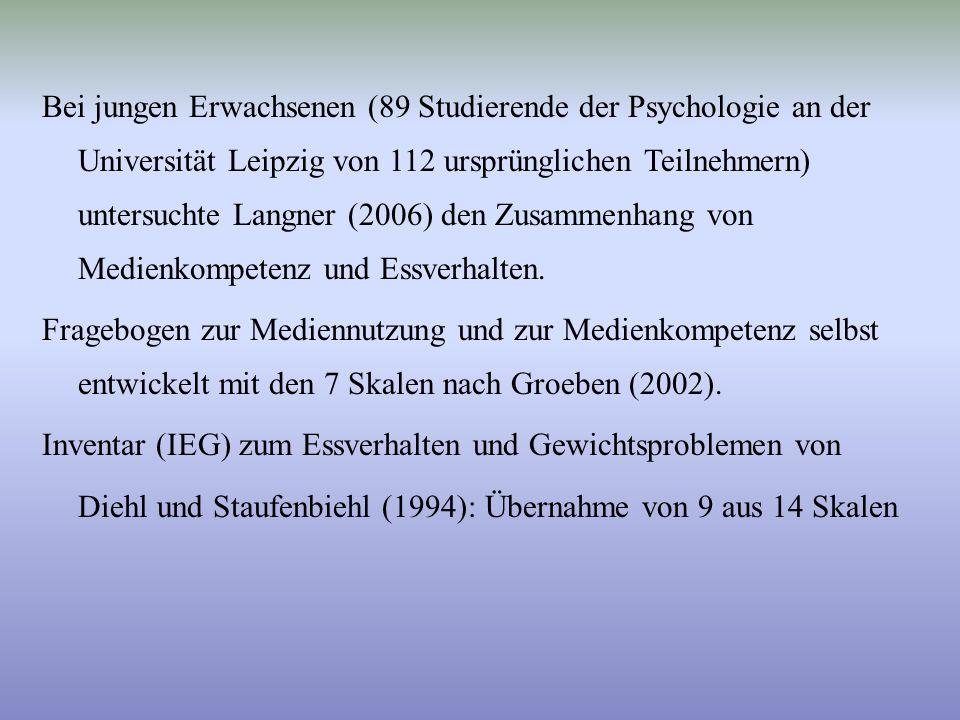 Bei jungen Erwachsenen (89 Studierende der Psychologie an der Universität Leipzig von 112 ursprünglichen Teilnehmern) untersuchte Langner (2006) den Z