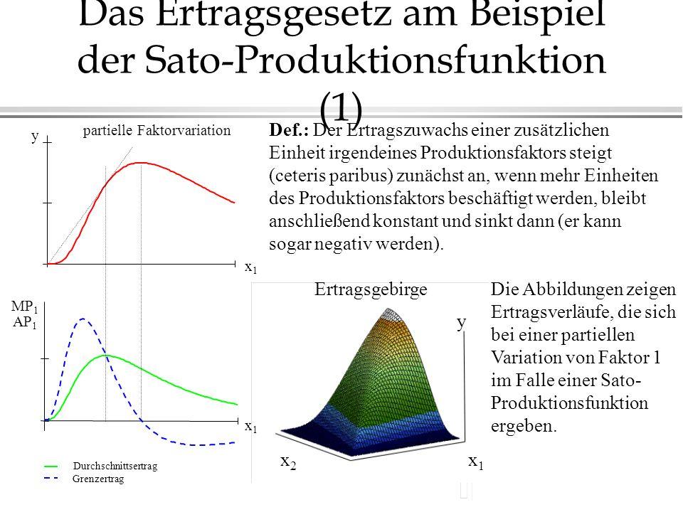 partielle Faktorvariation x1x1 Durchschnittsertrag Grenzertrag Das Ertragsgesetz am Beispiel der Sato-Produktionsfunktion (1) Def.: Der Ertragszuwachs