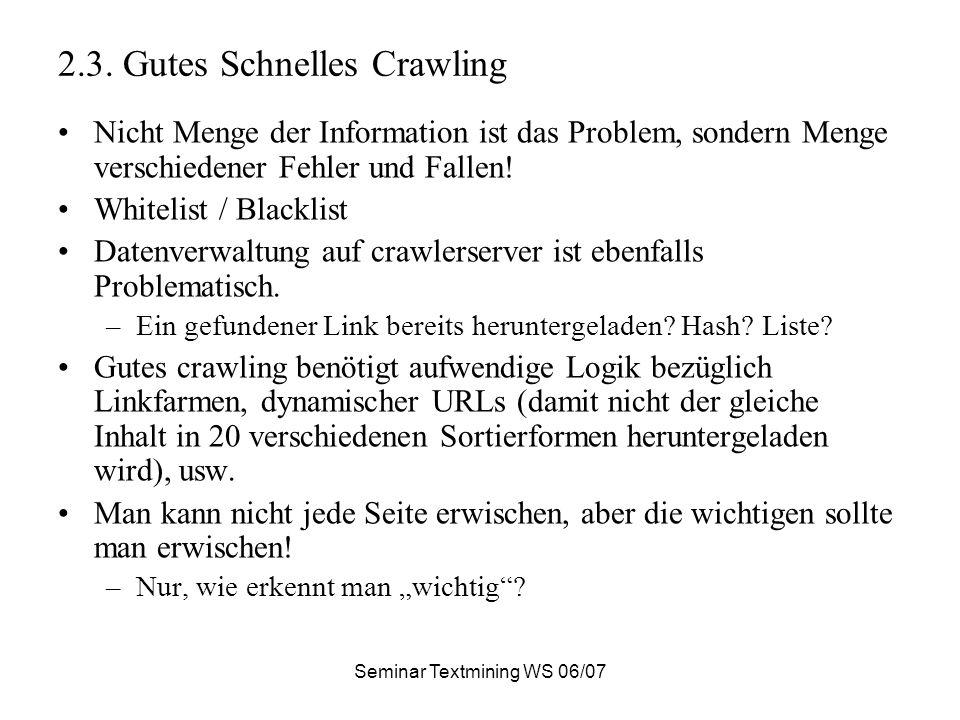 Seminar Textmining WS 06/07 2.3.