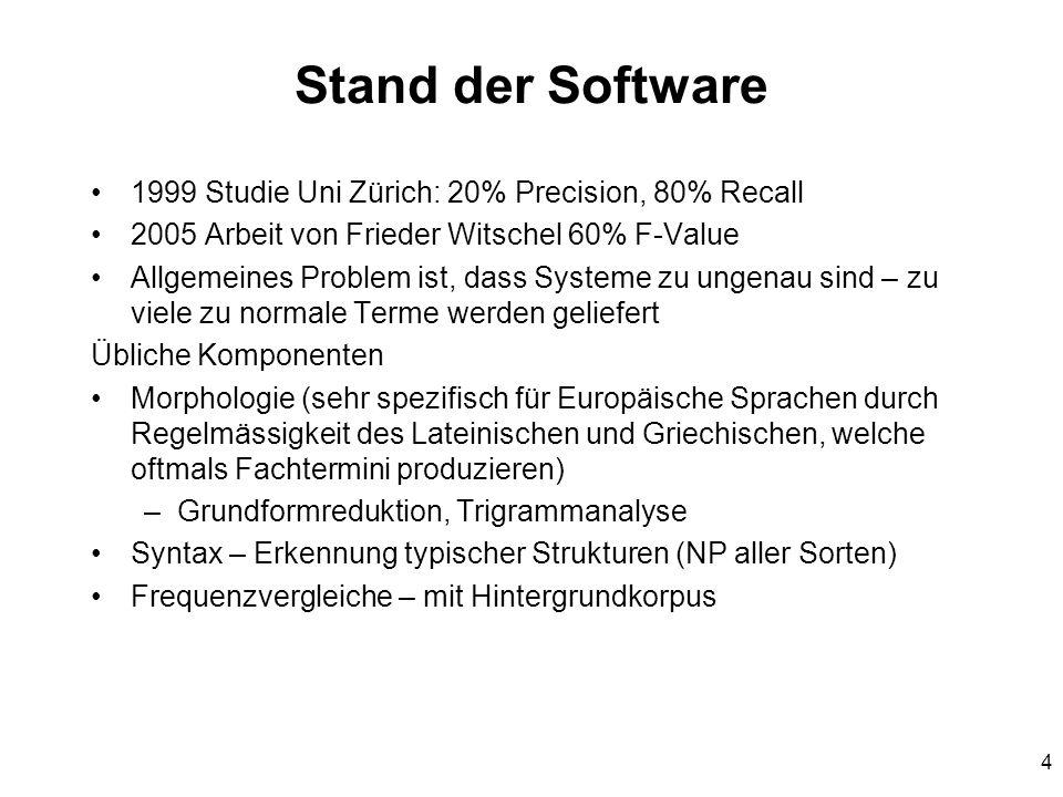 4 Stand der Software 1999 Studie Uni Zürich: 20% Precision, 80% Recall 2005 Arbeit von Frieder Witschel 60% F-Value Allgemeines Problem ist, dass Syst