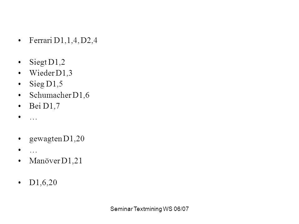 Seminar Textmining WS 06/07 Ferrari D1,1,4, D2,4 Siegt D1,2 Wieder D1,3 Sieg D1,5 Schumacher D1,6 Bei D1,7 … gewagten D1,20 … Manöver D1,21 D1,6,20