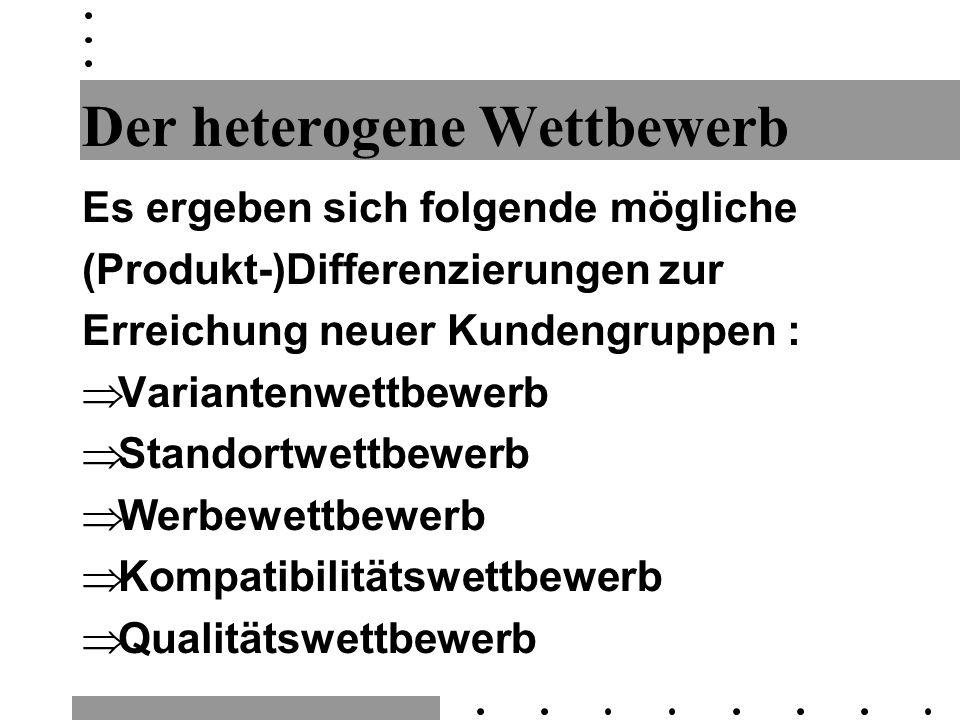 Preis Qualität Audi A8 BMW 7er Audi A4 Mercedes C-Klasse BMW 3er Audi A6 Mercedes E-Klasse BMW 5er A B Mercedes S-Klasse horizontale Produktdifferenzierung innerhalb einer Qualitätsklasse vertikale Produktdifferenzierung (verschiedene Qualitätsniveaus) Wettbewerbs- linie Audi A3 Mercedes A-Klasse BMW 3er comp