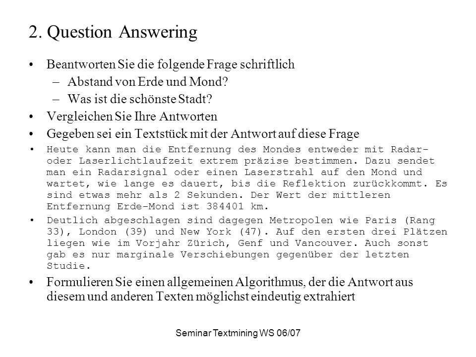 Seminar Textmining WS 06/07 2.1.Was im Web vorkommt www.ask.com: 8.