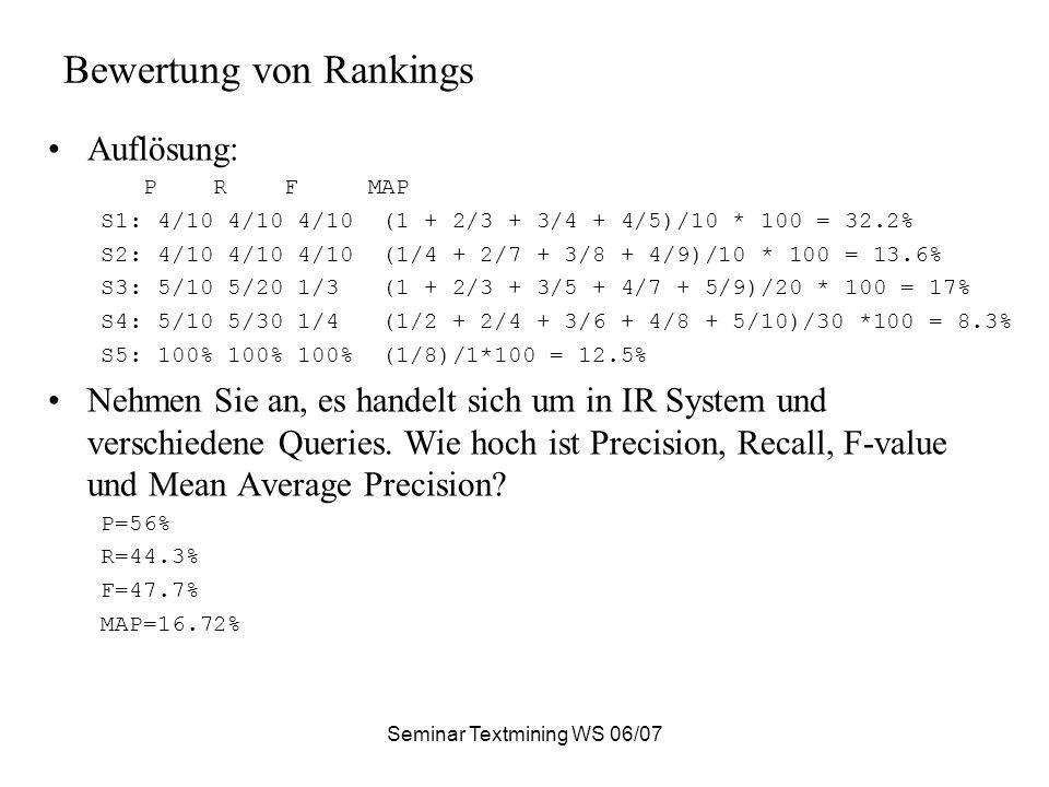 Seminar Textmining WS 06/07 Bewertung von Rankings Auflösung: P R F MAP S1: 4/10 4/10 4/10 (1 + 2/3 + 3/4 + 4/5)/10 * 100 = 32.2% S2: 4/10 4/10 4/10 (1/4 + 2/7 + 3/8 + 4/9)/10 * 100 = 13.6% S3: 5/10 5/20 1/3 (1 + 2/3 + 3/5 + 4/7 + 5/9)/20 * 100 = 17% S4: 5/10 5/30 1/4 (1/2 + 2/4 + 3/6 + 4/8 + 5/10)/30 *100 = 8.3% S5: 100% 100% 100% (1/8)/1*100 = 12.5% Nehmen Sie an, es handelt sich um in IR System und verschiedene Queries.