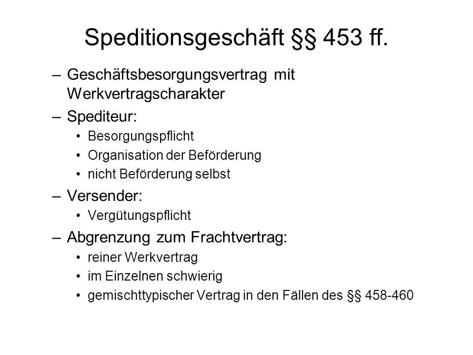 Speditionsgeschäft §§ 453 ff.