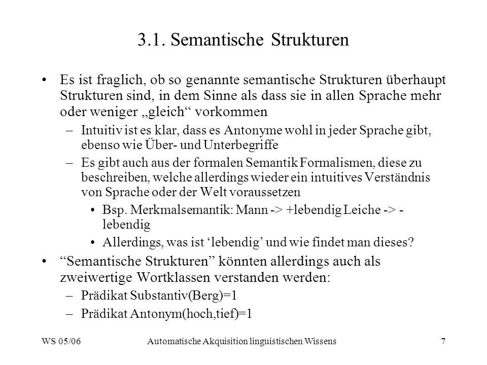 WS 05/06Automatische Akquisition linguistischen Wissens7 3.1.