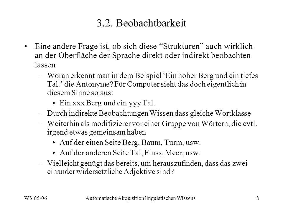 WS 05/06Automatische Akquisition linguistischen Wissens9 3.3.