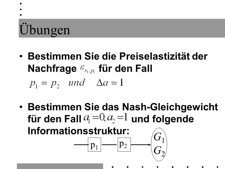 Übungen Bestimmen Sie die Preiselastizität der Nachfrage für den Fall Bestimmen Sie das Nash-Gleichgewicht für den Fall und folgende Informationsstruktur: p2p2 p1p1 G1G2G1G2