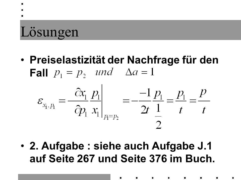 Lösungen Preiselastizität der Nachfrage für den Fall 2. Aufgabe : siehe auch Aufgabe J.1 auf Seite 267 und Seite 376 im Buch.