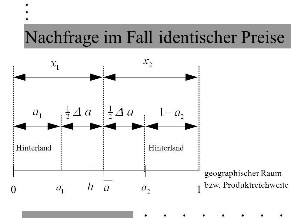 Hinterland 1 0 geographischer Raum bzw. Produktreichweite Nachfrage im Fall identischer Preise