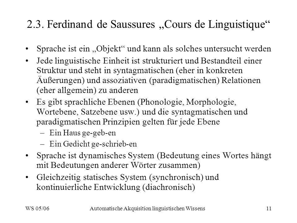 WS 05/06Automatische Akquisition linguistischen Wissens11 2.3.