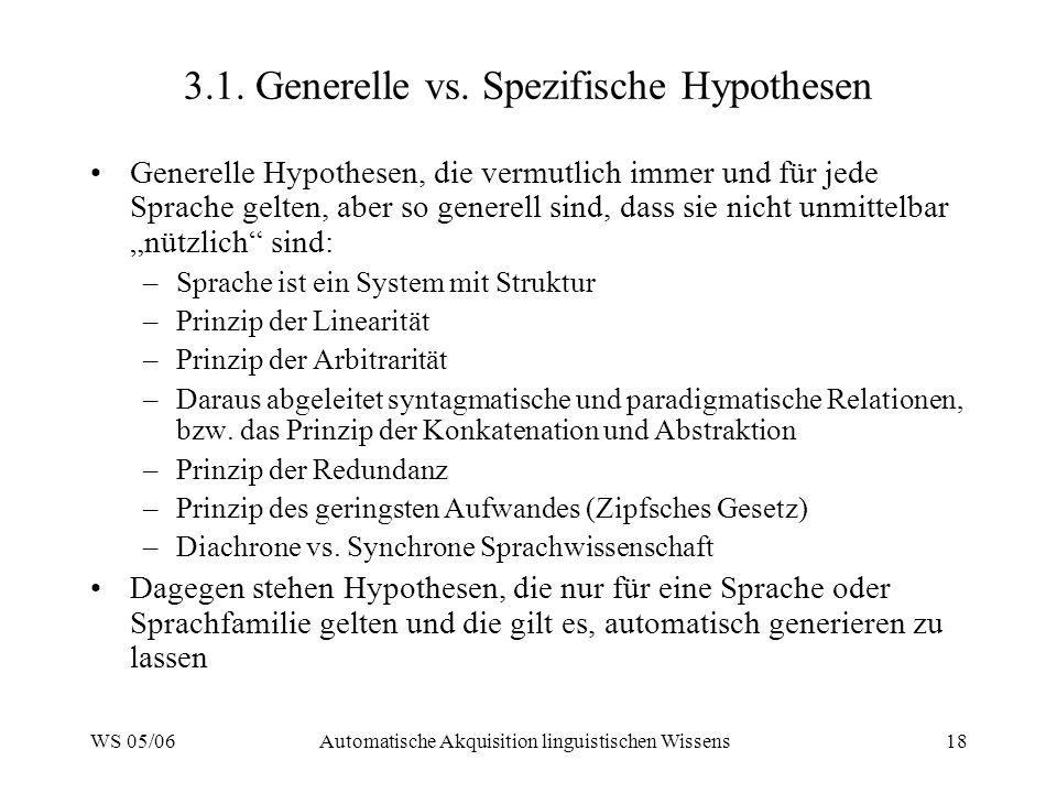WS 05/06Automatische Akquisition linguistischen Wissens18 3.1.