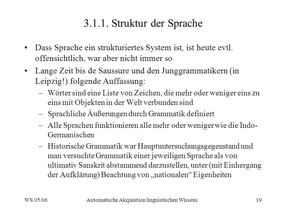 WS 05/06Automatische Akquisition linguistischen Wissens19 3.1.1.